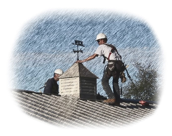 illustration of two men working on a roof i the rain